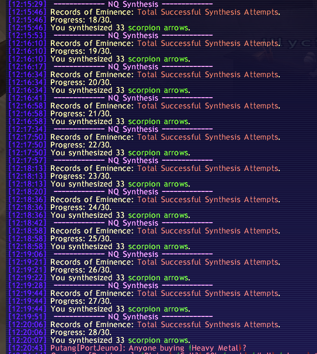 grover ffxi scorpion arrows just skillup with luck synths seem does straight crafting everywhere online trying hitting after level