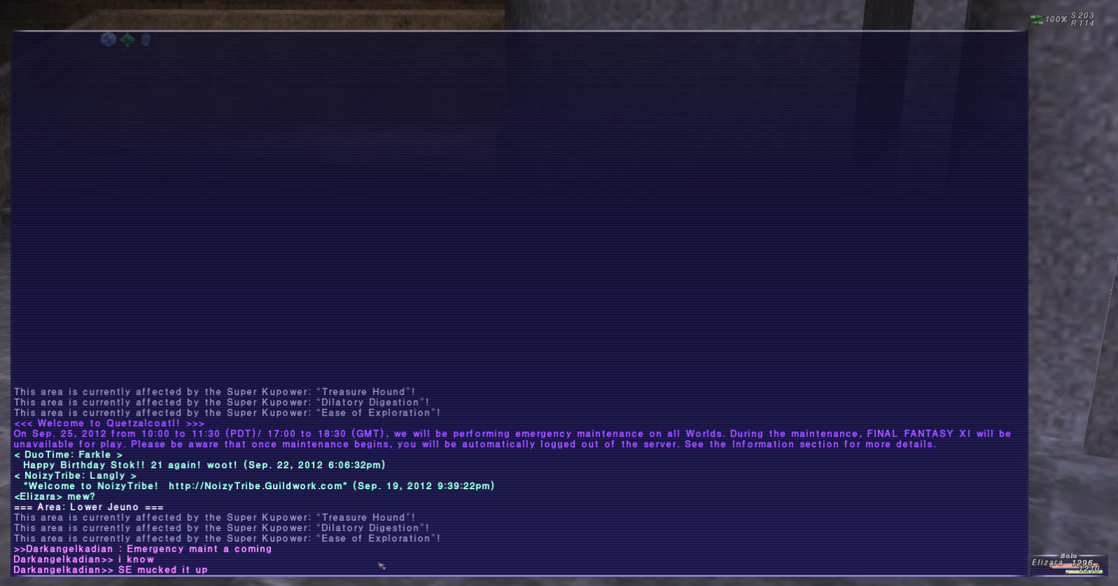 elizara ffxi test server that this update crashes included earlier post well exists problem shouldve known assumed didnt happen suggest multiple would crashed before went times version live