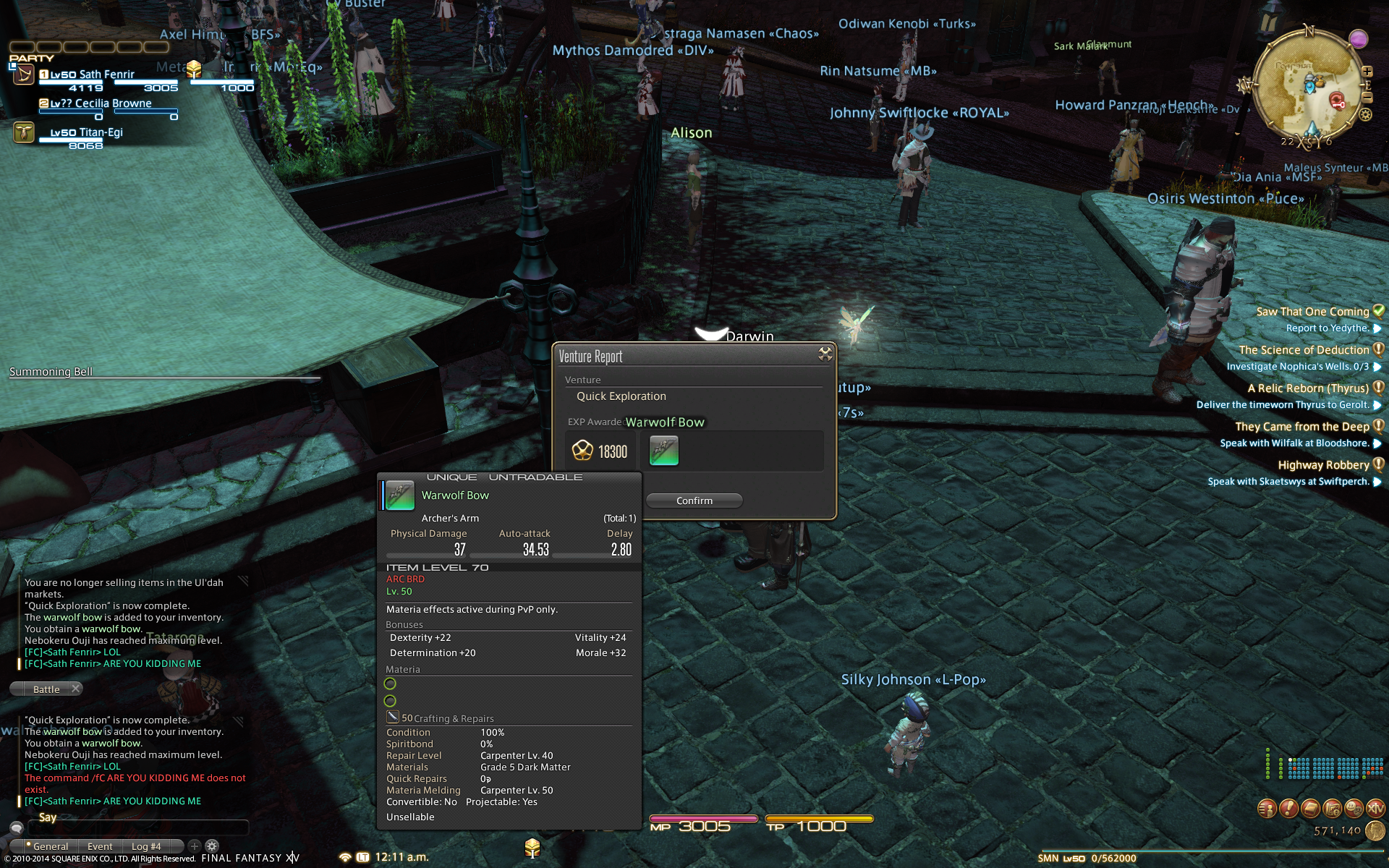 sathfenrir ffxiv retainer continues long lost death upon compendium useful pugs out-dps sanction will never