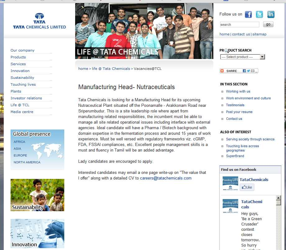 the stig  with related manufacturing must candidates this site will work lady management skills added people tamil fluency advantage versed regulatory well experience years frameworks compliances fssai cgmp excellent case link screenshot nekowtf slightly disturbing doesnt east bangalore india west chennai careerstatachemicalscom email interested encouraged apply page write-up along detailed offer
