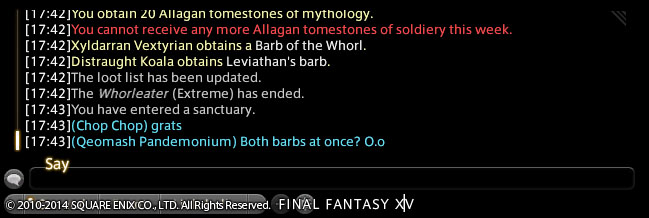 qeomash ffxiv gotten patch next tomestone outside first minicactpot weapon also accs lolable done catchphrase witty drops thread theres with that might poetics enough place awhile have hold