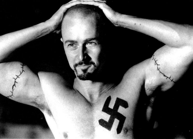 american history x tattoos. a fucking moose tattoo?