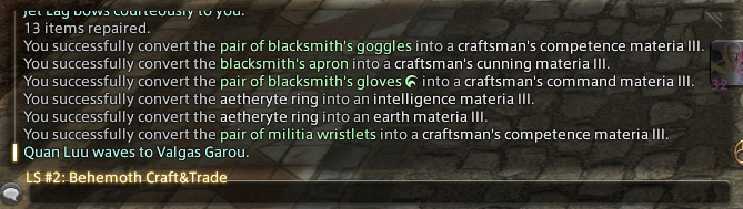 kaelan  desynth pieces crafted equivalents their same needing stop idyllshire without know look counterfoil market board both headpieces could crafting gathering thread those thats gloves scrips head mine